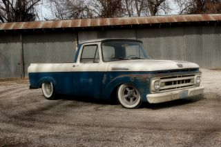 1961 Ford F100 Truck Shortbed Unibody Ratrod Hot Rod Custom photo