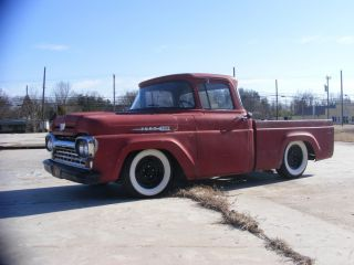 1960 Ford F100 Pick Up Truck Rat Hot Rod Custom Lowered Wide Whites Ratrod photo