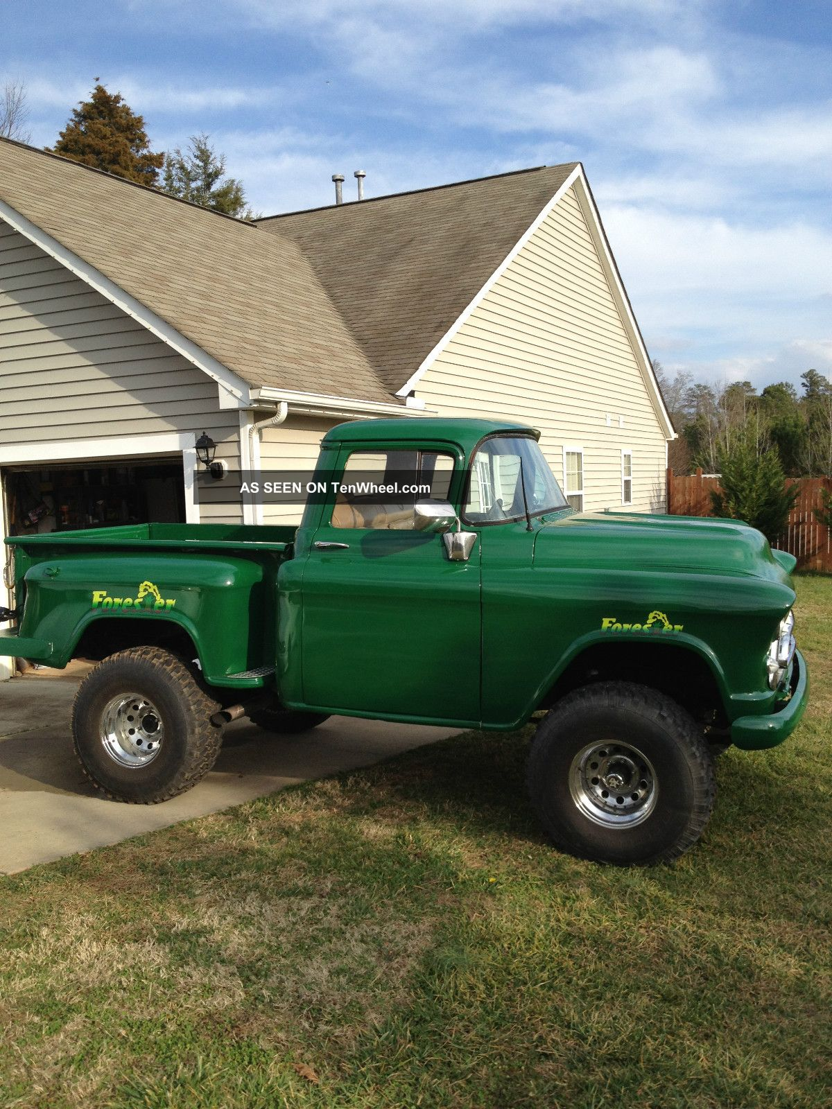 On Green 1957 Chevy,  Step Side,  4x4,  Old 90% Antique,  Truck Other Pickups photo