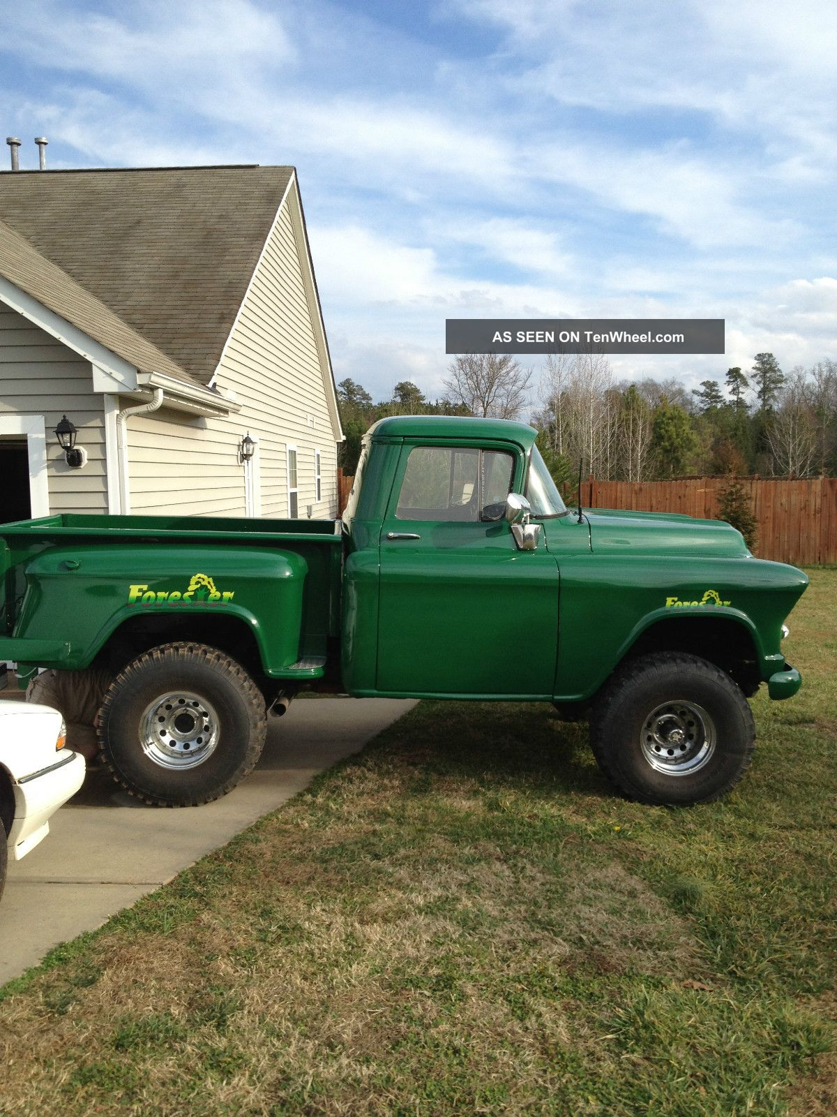 On Green 1957 Chevy Step Side 4x4 Old 90 Antique Truck