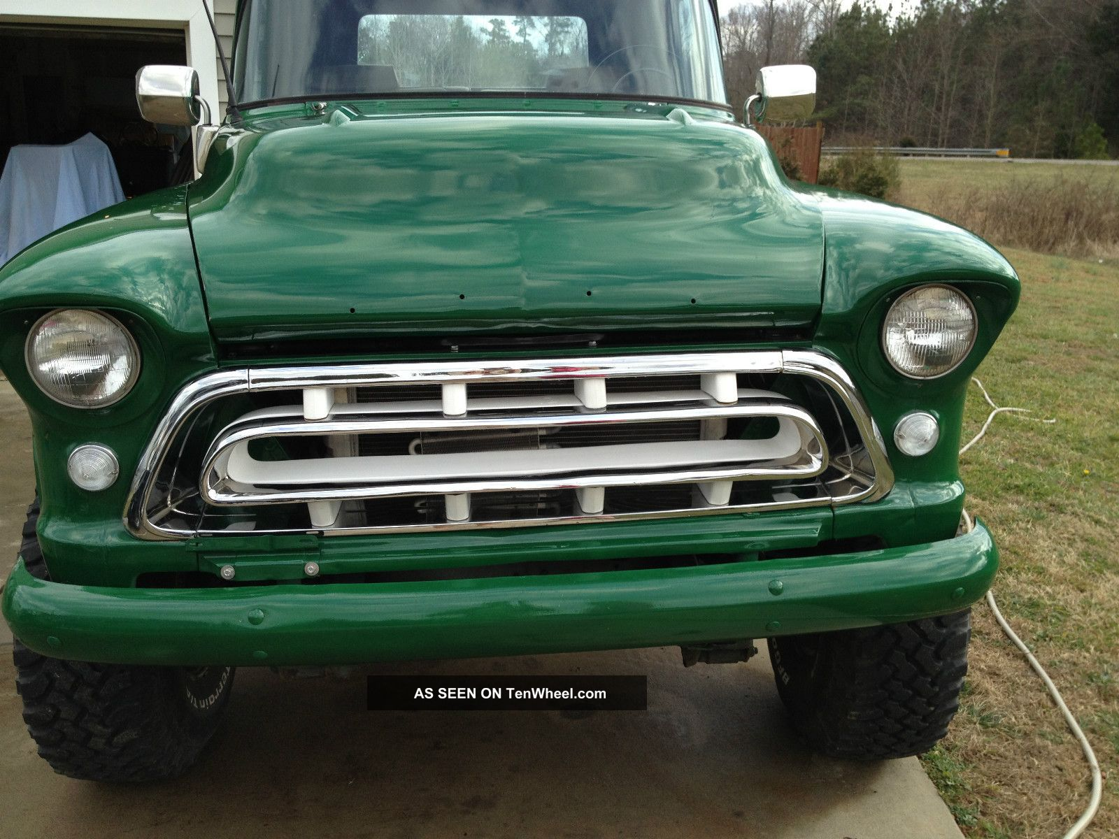On Green 1957 Chevy Step Side 4x4 Old 90 Antique Truck C10 Stepside