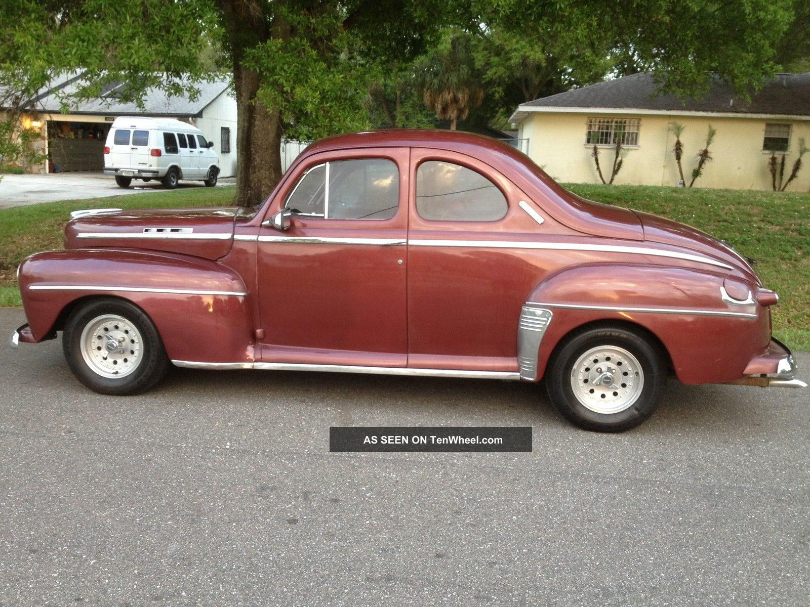 1947 ford 2 door business coupe deluxe 8 all steel ac 302