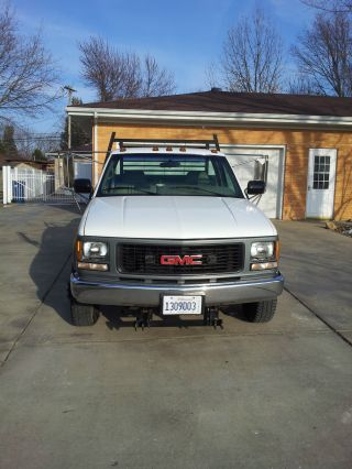 1995 Gmc Chevy 3500 4x4 Flatbed Gooseneck 23k 9ft.  Western Snow Plow photo