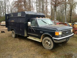 1990 Ford F450 Dually Xlt Service / Tool Bed 7.  3 Diesel Runs Good Nr photo