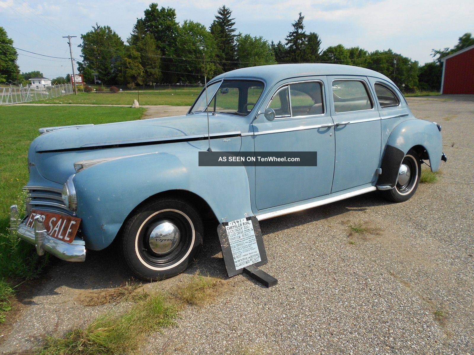 1941 chrysler royal 4 door six cylinder for 1941 plymouth deluxe 4 door