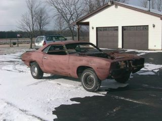 1970 Plymouth Cuda Barracuda Plum Crazy 4 Speed Project Car,  Good Clone / Restomod photo