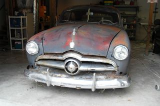 1950 Ford 2 Door V8 Flat Head,  Complete Car,  Would Be An Easy Car To Restore. photo