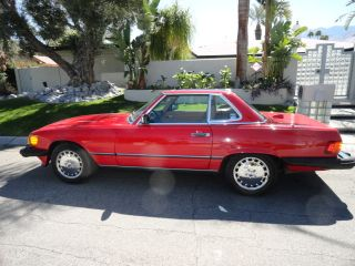 1987 Mercedes Benz 560sl Red With Palomino Interior Both Tops In Excellent Condt photo