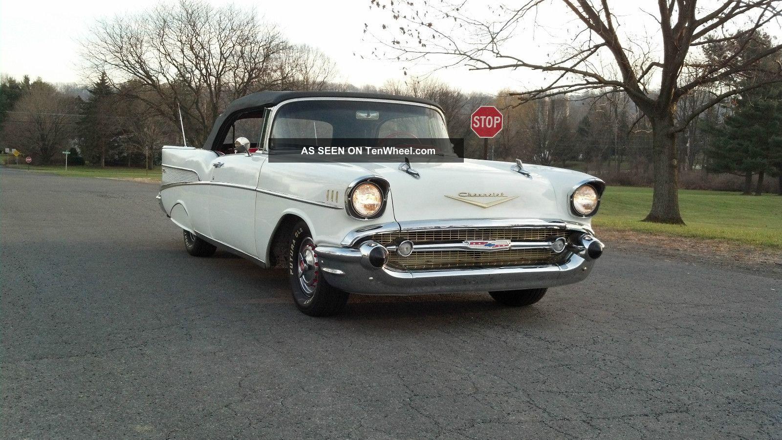 1957 Chevy Chevrolet 57 Belair Convertible 210 150 2 Door White,  Black Top Bel Air/150/210 photo