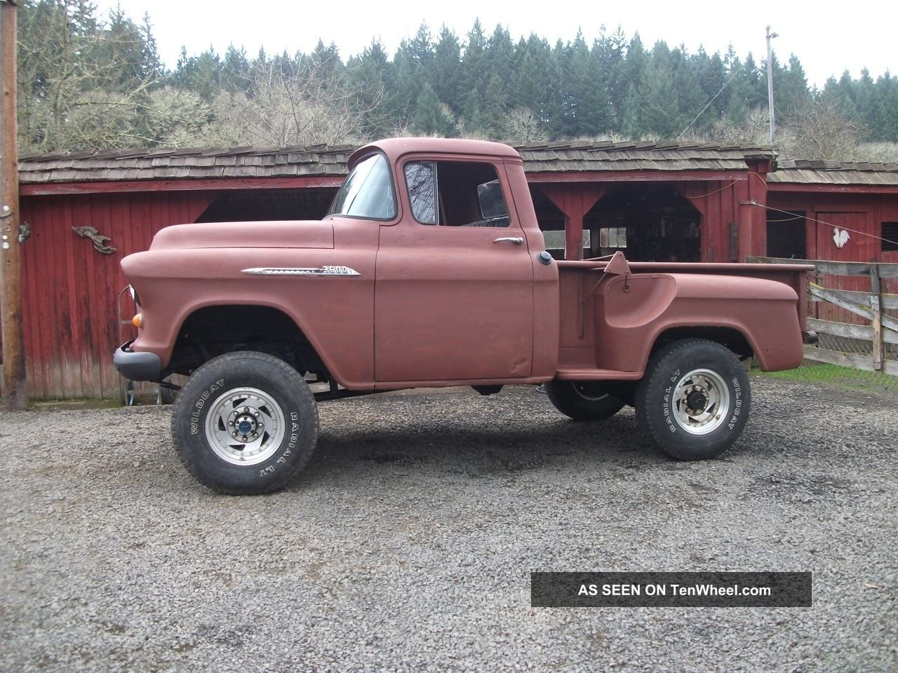 2861 1955 chevy short box pickup  4x4 with 6  lift  chevrolet stepside