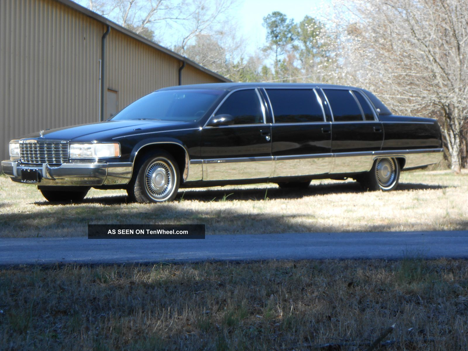 1995 cadillac fleetwood limousine black 50 inch stretch miller meteor tenwheel