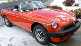 Red 1978 Mgb Roadster. photo
