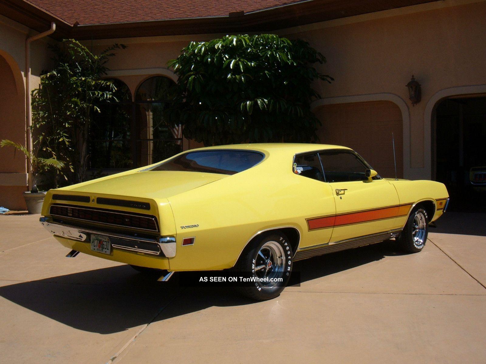 Ford Torino Gt Grabber Yellow   Spd Shaker Hood Marti Report