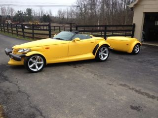 1999 Yellow Plymouth Prowler Base Convertible 2 - Door 3.  5l - Includes Trailer photo
