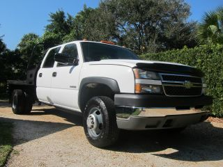 2005 Chevy 3500 Crew Cab 4x4 4wd Flatbed Florida Make Offer photo