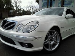 2005 Mercedes E55 Amg Alabaster White With 2 Tones Charcoal & Merlot photo