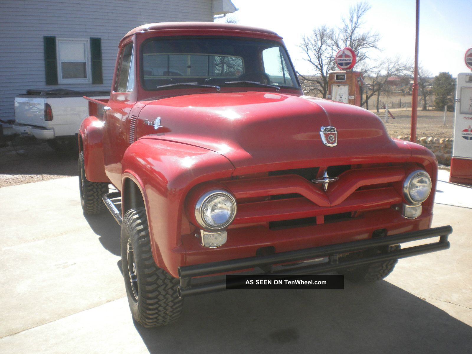 1955 Ford F100 4x4 Custom Truck Hot Rod Rat Lifted Pickup V Red Eight 400
