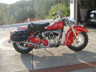 1947 Indian Chief Motorcycle - Ferrari Red - Classic photo