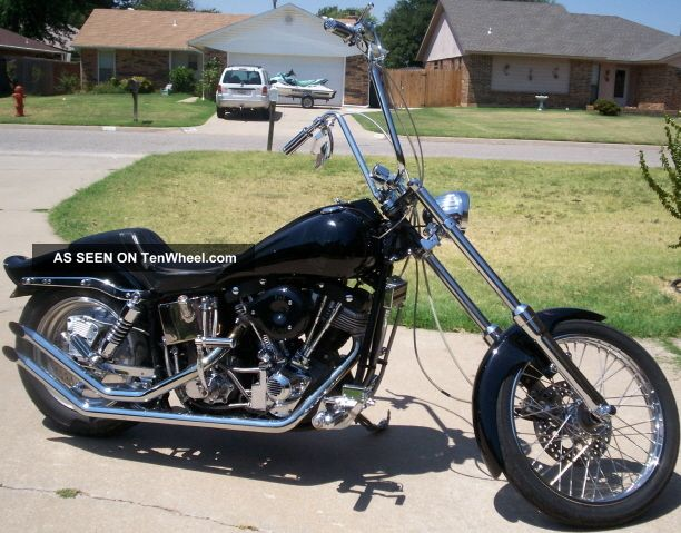 1975 Harley Davidson Shovelhead 1200cc Chopper Skull Jester Paint Job Black  75 E