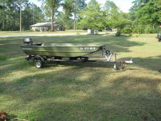 1994 Alumacraft Jon Boat Model 1236 Trailer 5 Hp Motor photo