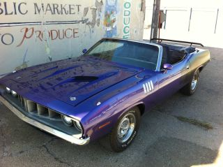 1971 Plymouth Barracuda Convertible,  ' Cuda Clone,  440+6,  Pistol Grip,  Plum Crazy photo