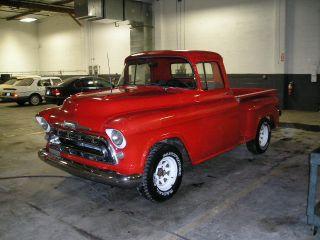 1957 Chevrolet 3100 Short Bed Stepside,  Corvette Red,  350 Cid 365 Hp Turbo 400 photo