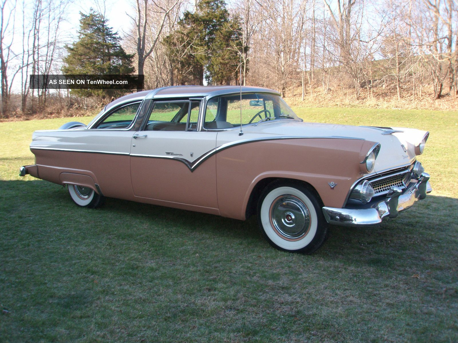 1955 ford fairlane crown victoria rare color combo buckskin white. Cars Review. Best American Auto & Cars Review