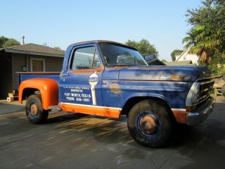 19671968197019711972 Ford F100pickuptruckratrodpatinaoriginalpaintgulfoillogos photo
