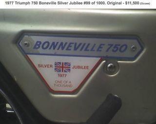 1977 Triumph 750 Boneville Silver Jubilee 99 / 1000 Txt / 407.  341.  6880 photo