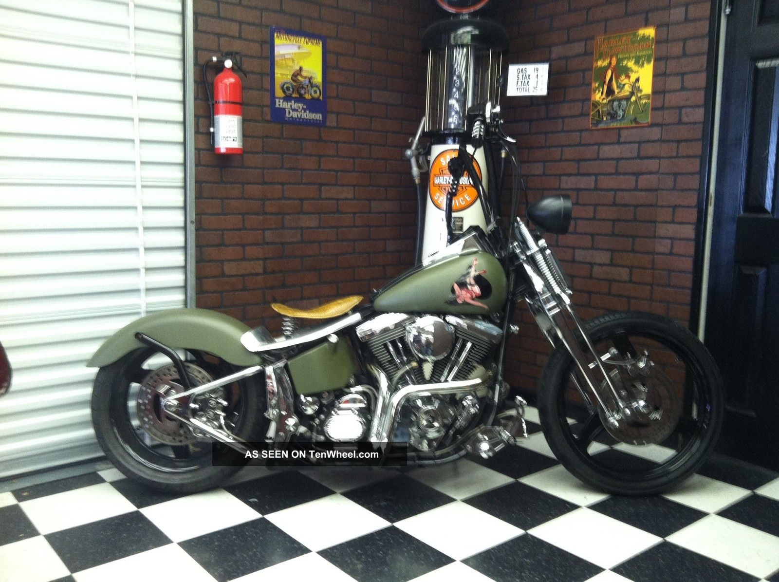 1999 Harley Davidson Springer Military Pinup Hardtail Bobber Chopper Olive Softail photo
