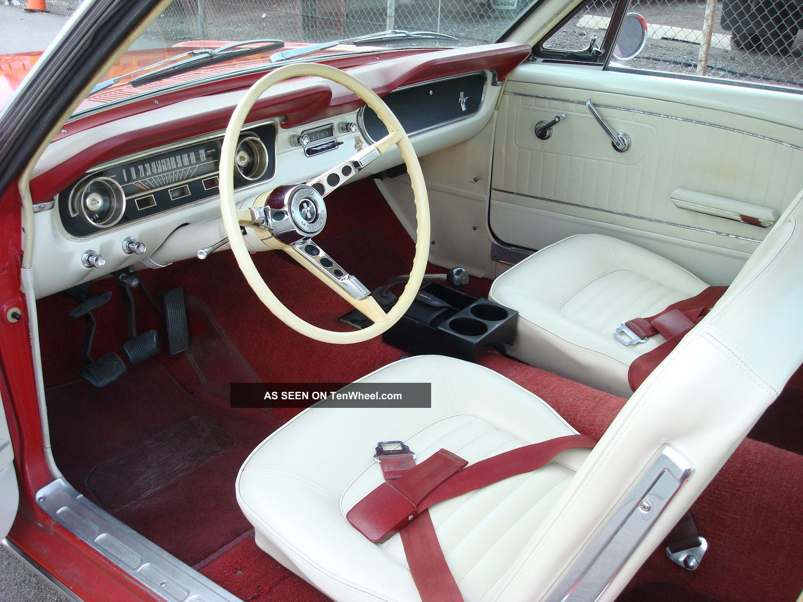 1965 mustang fastback red white interior 2 plus 2 6 cyl 3 speed car low r. Black Bedroom Furniture Sets. Home Design Ideas