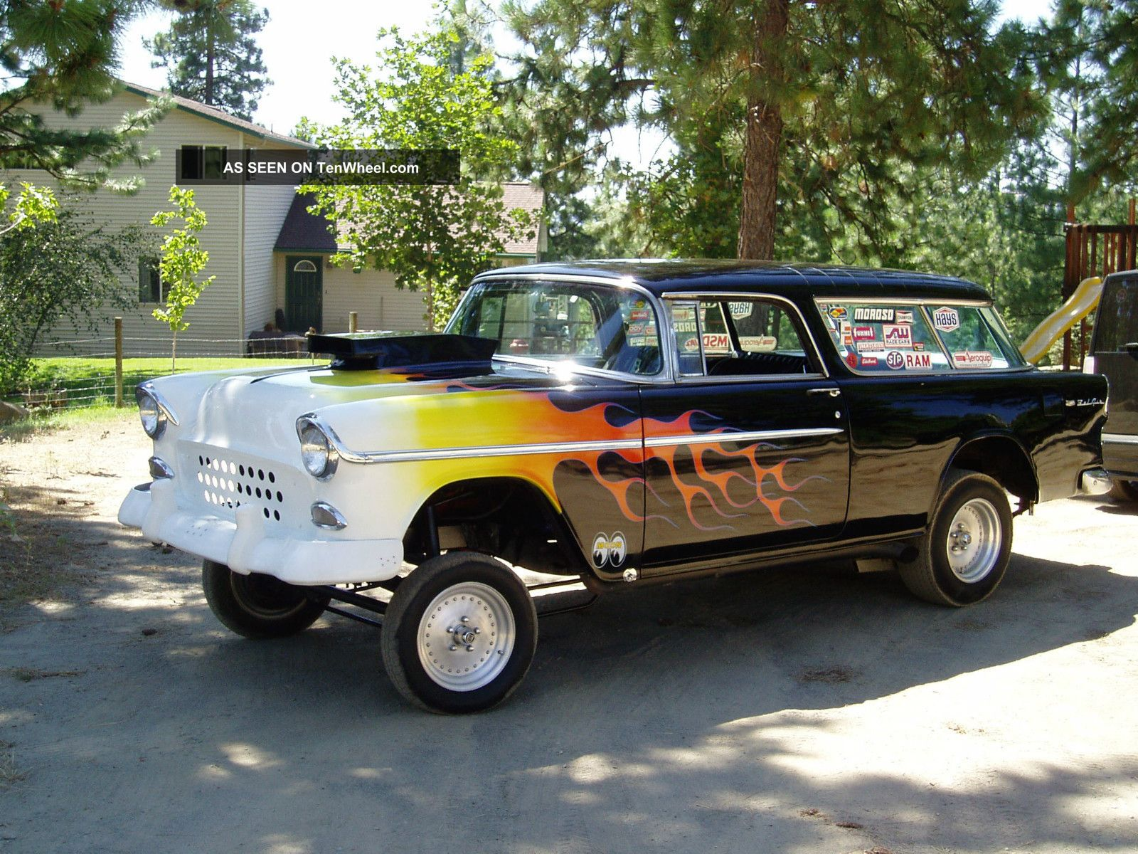 1955 Chevrolet Nomad Gasser Black With Flames