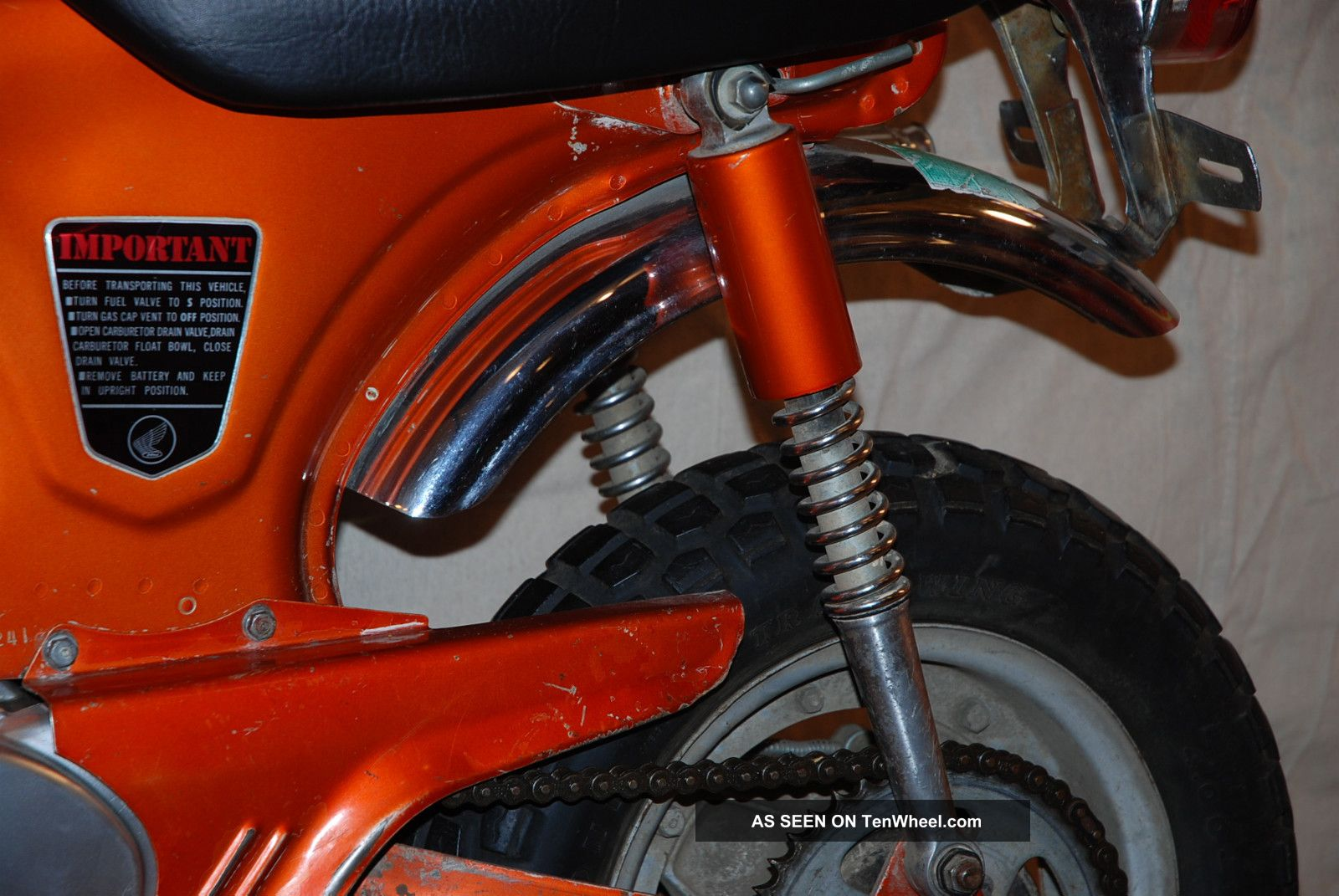 1970 Honda Ct70h Topaz Orange 4 Speed Unrestored Private Ct70 Battery Collection