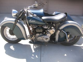 1947 Indian Bonneville Chief With 1940 Indian Sidecar photo