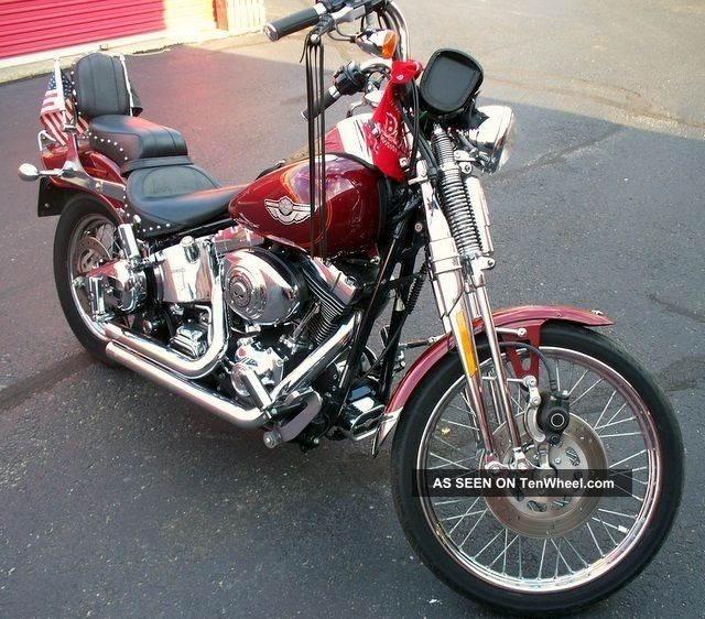 2003 Harley Davidson Springer Softail Fxstsi 1ooth Aniver.  Lux.  Rich Red 13800 Mi. Softail photo