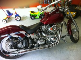 2002 Custom Titan Coyote Motorcycle,  113ci,  6spd,  Candy Appleburgandy,  Softtail photo