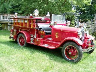 1928 Ford Model Aa Seagrave Fire Truck Engine Rstored photo