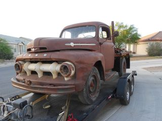 1952 Ford F3 Flatbed Flathead V8 Stakebed Az Titled Title Complete Drivetrain photo