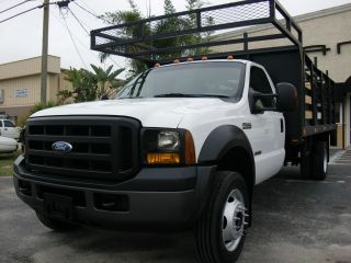 2007 Ford Turbo Diesel F550 Dually 17ft Flatbed Liftgate Rack Truck photo