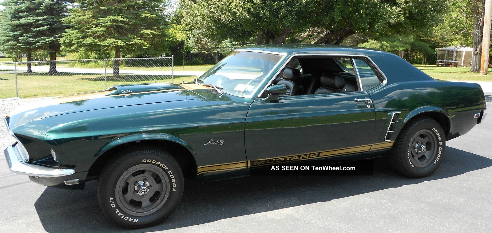 1969 Mustang Coupe Metallic Black Jade W Gold Stripe Ford Msrp