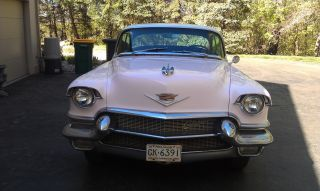 1956 Cadillac Deville 4 Door V - 8 Pink With White Top Black Cloth Interior photo