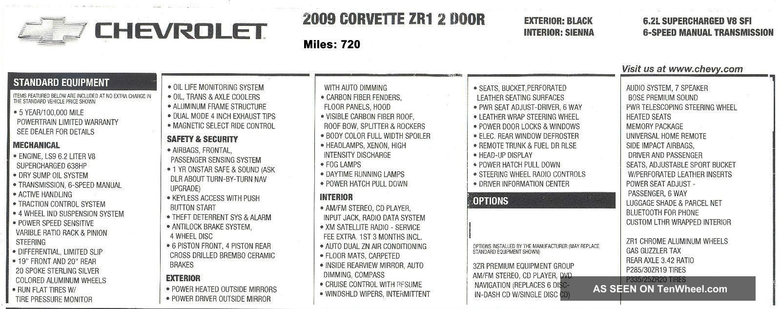 2009 chevrolet corvette zr1 coupe 2