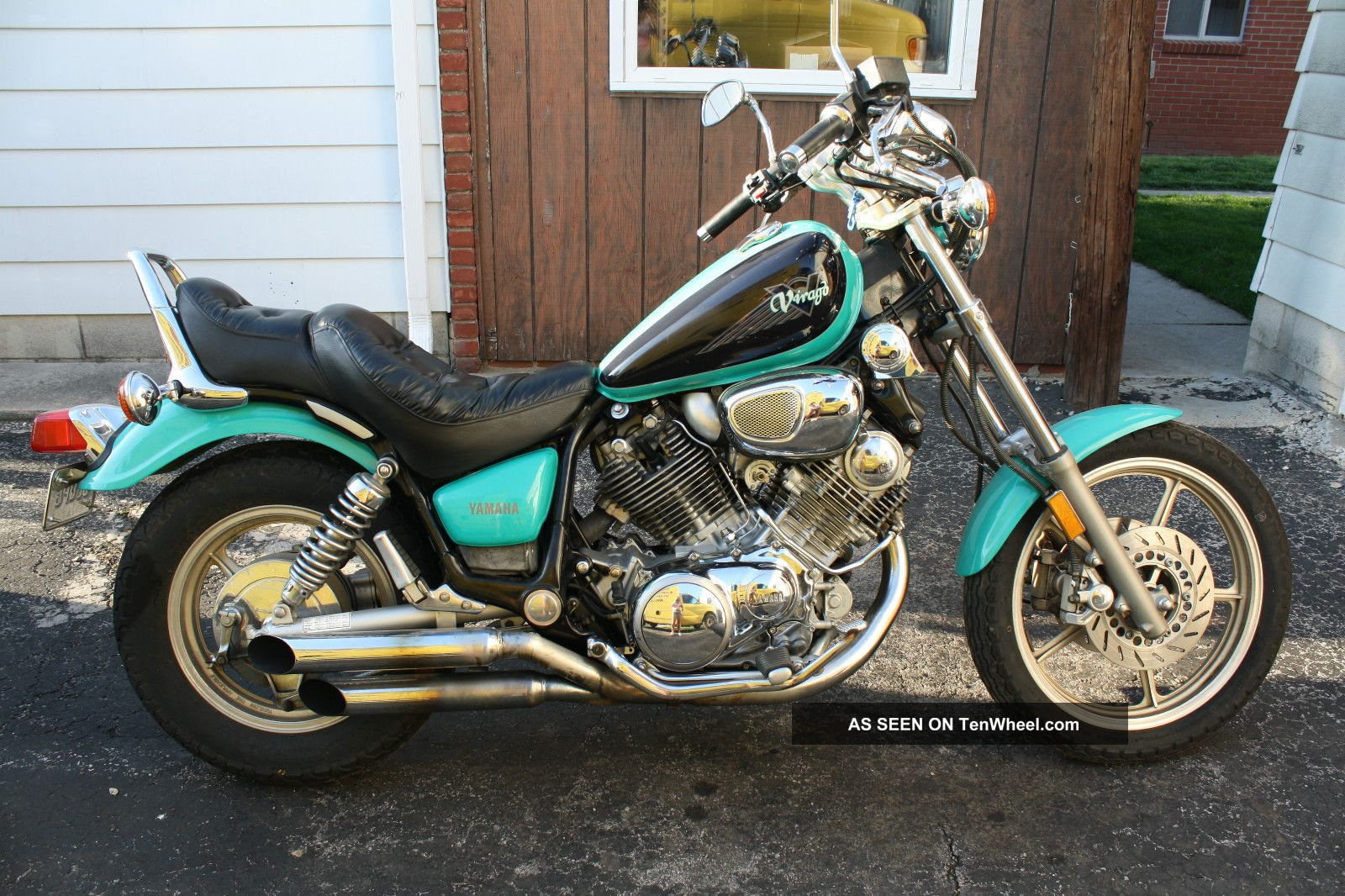 1995 yamaha virago 750 custom pipes lots of chrome. Black Bedroom Furniture Sets. Home Design Ideas