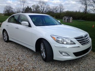 2012 White Hyundai Genesis Sedan 3.  8,  Cashmere Interior,  Premium Package photo