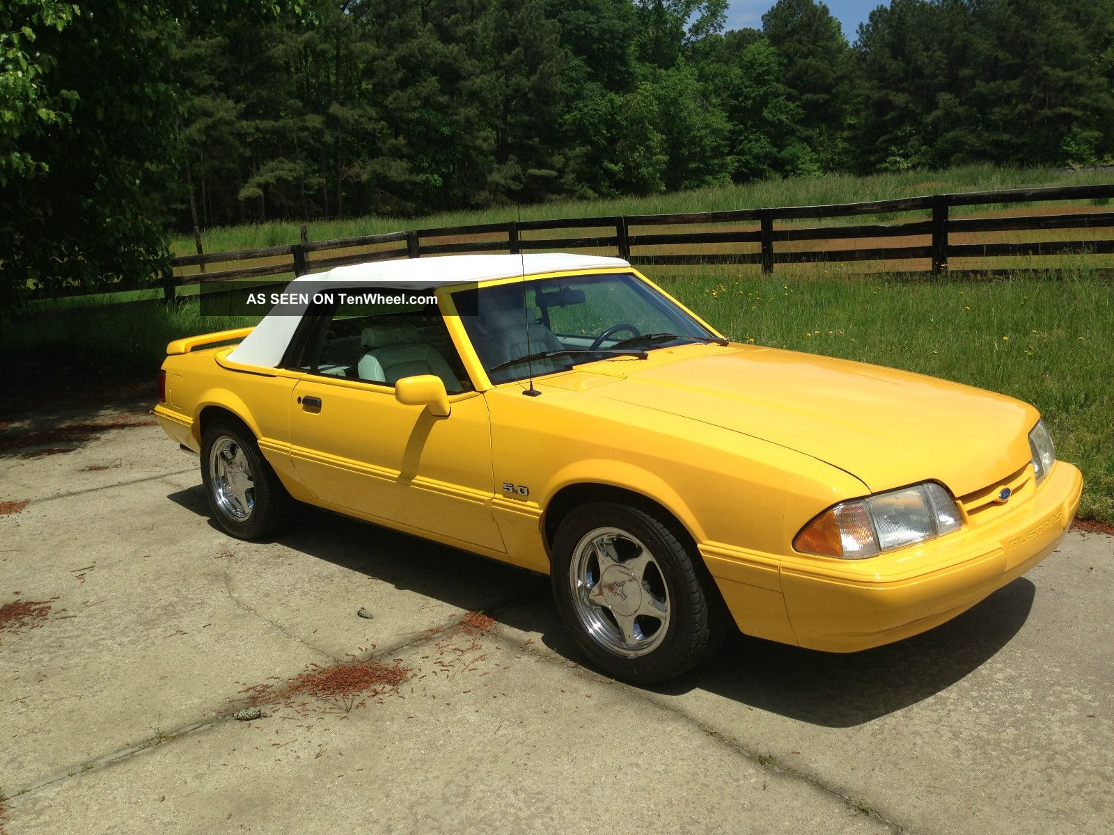 1993 ford mustang lx 5 0 yellow convertible. Black Bedroom Furniture Sets. Home Design Ideas