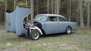 1955 Chevy Gasser Two Lane Black Top Straight Axle I Beam 468 Bbc 4 Speed 55 Nj photo