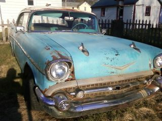 1957 Chevy Bel Air Hardtop Turquoise Matching ' S Engine photo