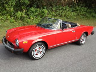 1981 Fiat Spider 124 Convertible Fuel Injection 2000 Cc Red Beauty In Florida photo