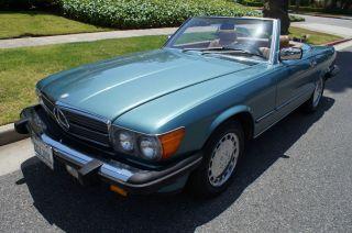 1988 560sl California Car In Rare ' Petrol Blue Green Poly ' Color photo