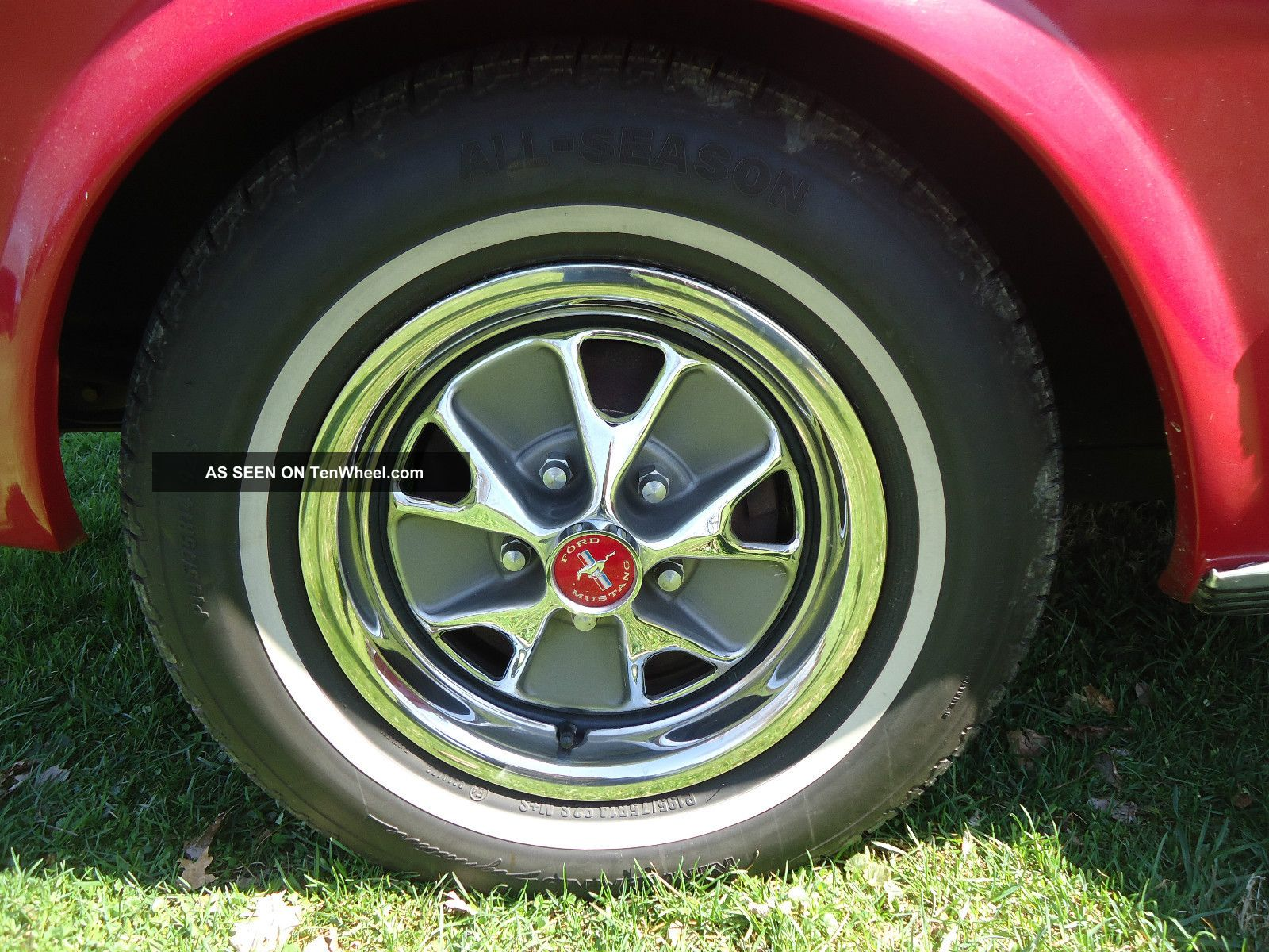 cherry red  ford mustang  code coupe    automatic rally wheels